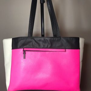 French Connection Hot Pink, Black, & White Tote